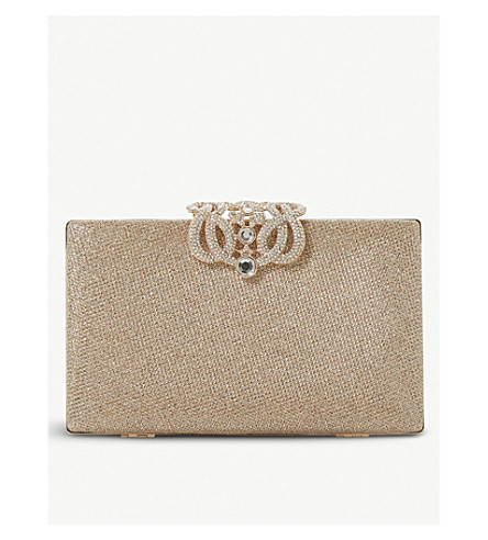 DUNE Eterrnal embellished clutch (Gold-metallic+fabric
