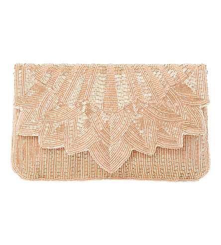 DUNE Eloise beaded foldover clutch (Rose gold