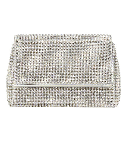DUNE Everlina dimante clutch bag (Silver-diamantes