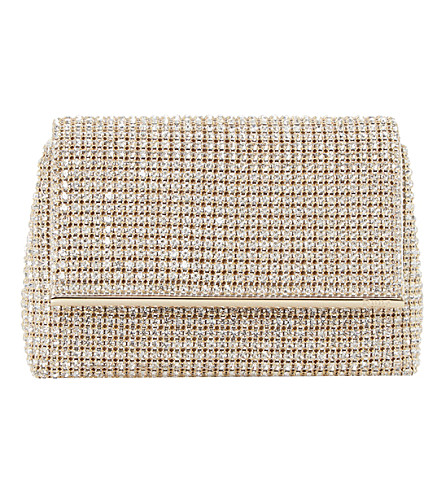 DUNE Everlina diamante-embellished clutch bag (Gold-diamantes