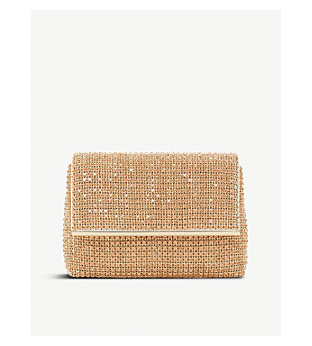 DUNE Everlina diamante-embellished clutch bag (Rose+gold-metallic