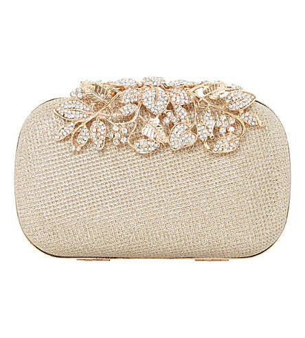 DUNE Emberrs embellished clasp clutch bag (Gold-metallic+fabric