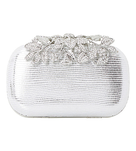 DUNE Emberrs embellished clasp clutch bag (Silver-reptile