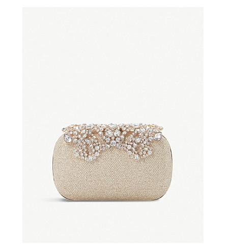 DUNE Estella embellished clutch (Gold-metallic+fabric