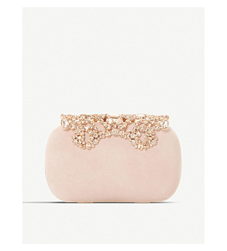 DUNE Estella embellished suede hard case clutch bag (Blush-suede