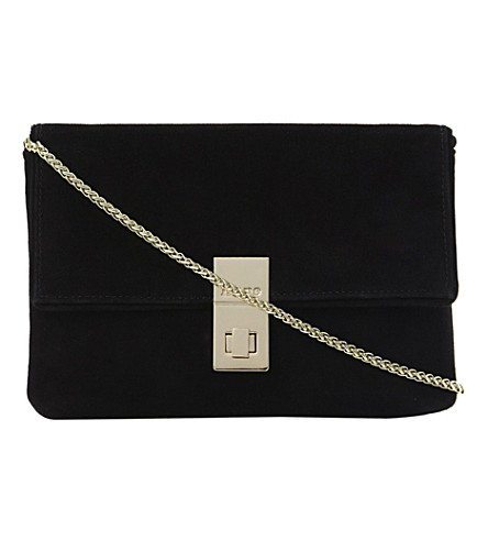DUNE Ebba branded lock suede clutch (Black-suede