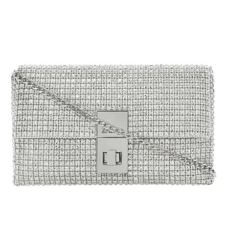 DUNE Eliza diamanté-embellished clutch (Silver-diamantes