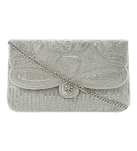 DUNE Eazie beaded clutch (Silver-beaded