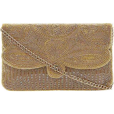 DUNE Eazie beaded clutch (Gold-beaded