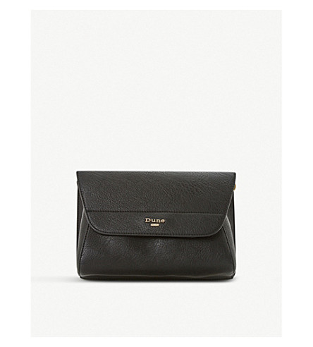 DUNE Ellanaa fold-over clutch bag (Black-plain+synthetic