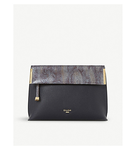 DUNE Eccles fold-over clutch bag (Navy-synthetic