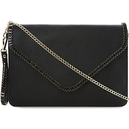 DUNE Egemmy gem-edged envelope clutch (Black-synthetic
