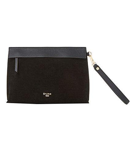 DUNE Eharriet faux-leather clutch bag (Black-suede