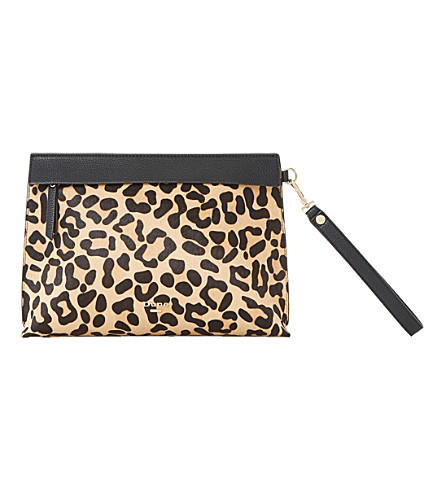 DUNE Eharriet faux-leather clutch bag (Leopard-pony