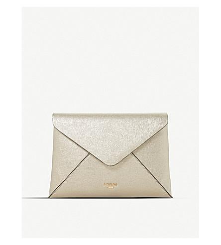 DUNE Enria fold-over envelope clutch bag (Gold-plain+synthetic