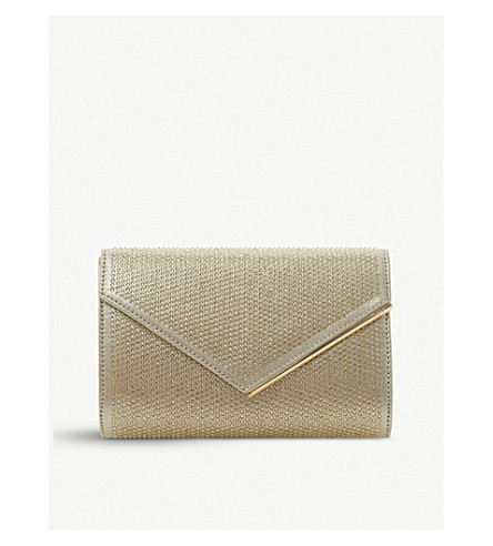 DUNE Evaleen embellished clutch (Gold-fabric
