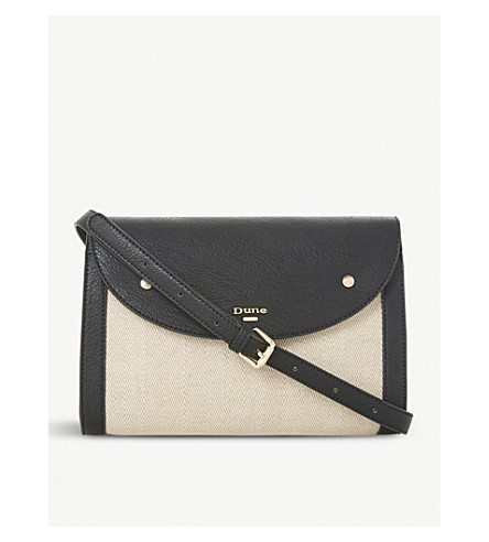 DUNE Eldora raffia cross-body bag (Black-synthetic