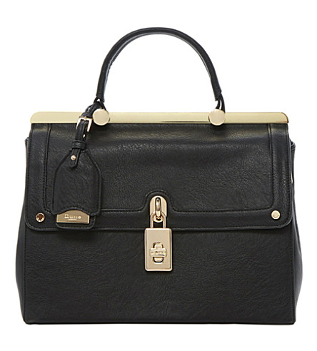DUNE Dramey padlock-detail fold-over tote (Black-synthetic