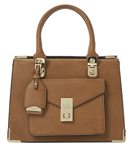 DUNE Durntop metal-detail faux-leather tote (Tan-synthetic