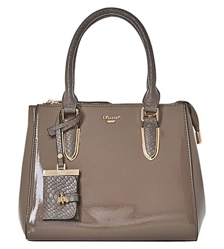 DUNE Denvie reptile-effect patent tote bag (Taupe-patent+synthetic