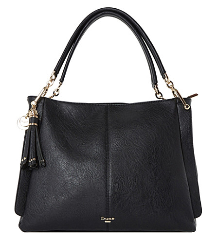 DUNE Disobelle slouch faux-leather shoulder bag (Black-plain+synthetic