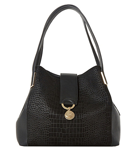 DUNE Denna faux-croc-embossed shoulder bag (Black-croc