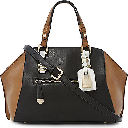 DUNE Dewine winged colour-block bowler bag (Black-synthetic