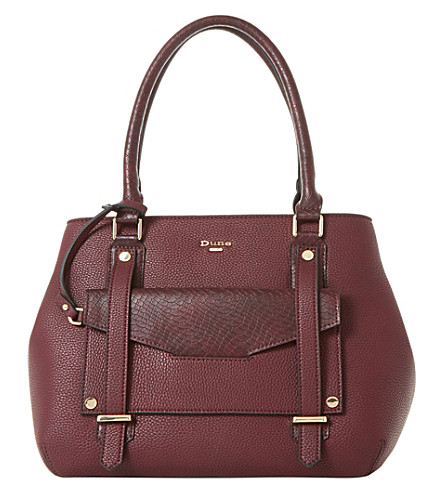 DUNE Dylier reptile-embossed shoulder bag (Berry-plain+synthetic