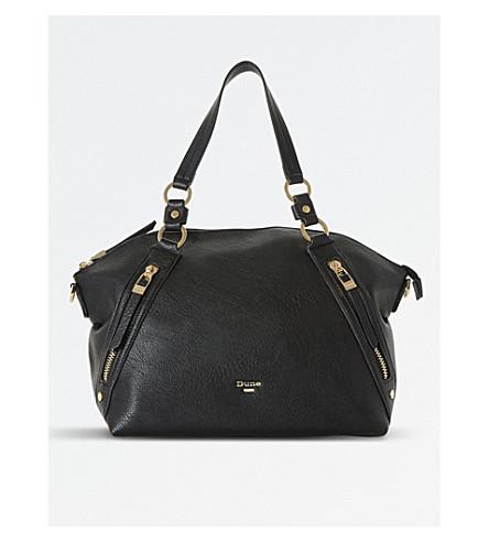 DUNE Twin-zip slouch shoulder bag (Black-plain+synthetic