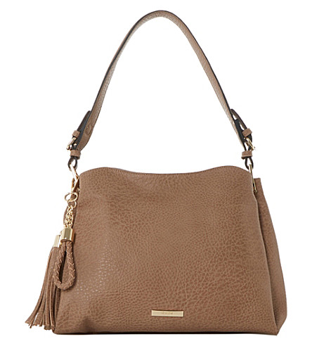DUNE Charm-detail faux-leather shoulder bag (Taupe-synthetic