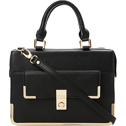 DUNE Faux-leather framed satchel (Black-plain synthetic