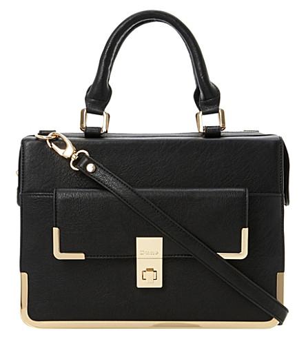 DUNE Faux-leather framed satchel (Black-plain synthetic