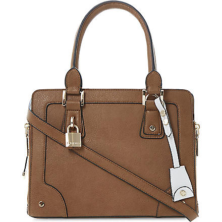DUNE Dobby side-zip tote bag (Tan-synthetic