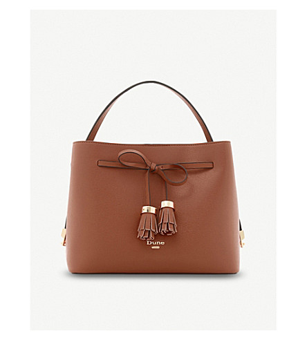 DUNE Dinidess tassel and bow-detail shoulder bag (Tan