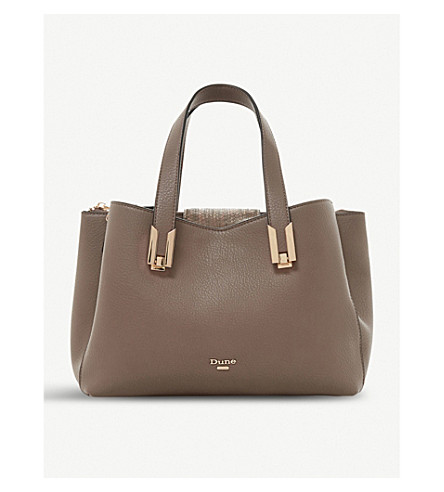 DUNE Decci faux-leather tote bag (Grey-plain+synthetic