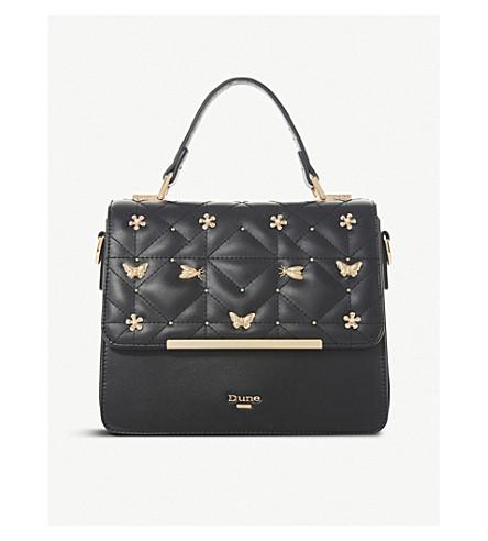 DUNE Dutterfly embellished box bag (Black-plain+synthetic