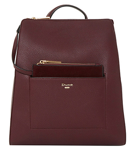 DUNE Dahlier faux leather rucksack (Berry-plain+synthetic