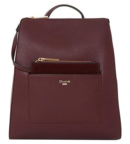 DUNE Dahlier faux leather rucksack (Berry-plain+synthetic