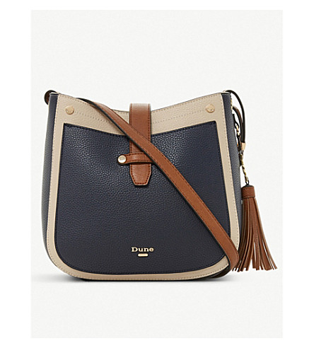 DUNE Danao faux-leather cross-body bag (Navy-plain+synthetic