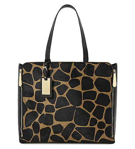 DUNE Delourz leather and ponyskin tote (Multi-pony