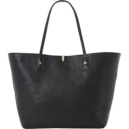 DUNE Dallop reversible faux-leather shopper bag (Black-synthetic