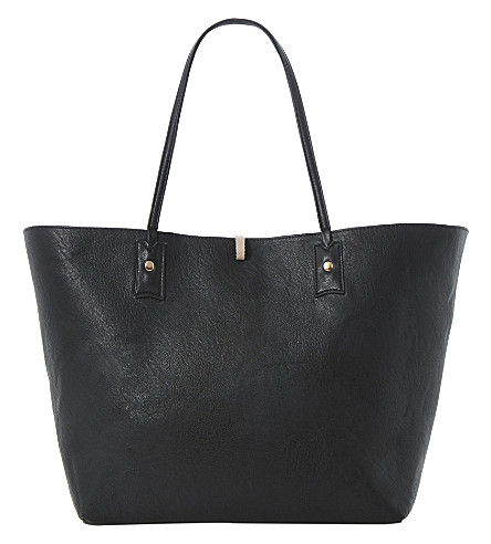 DUNE Dallop reversible faux-leather shopper bag (Black-synthetic