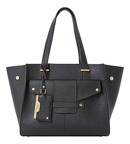 DUNE Dornan leather winged shopper bag (Black-plain synthetic
