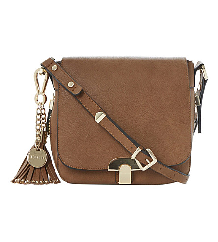 DUNE Dushroom tassel-trim saddle bag (Tan-synthetic