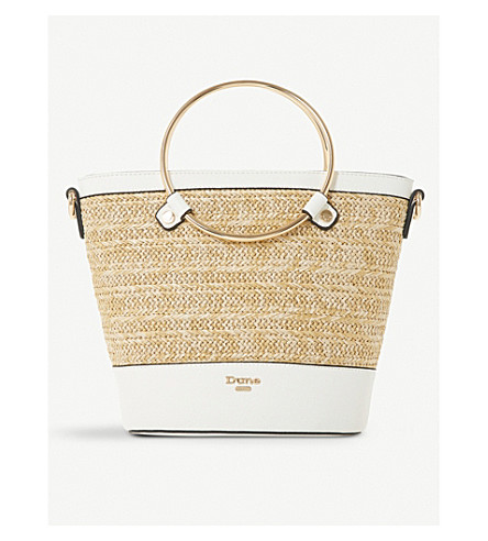 DUNE Dircle woven and faux-leather shopper (White