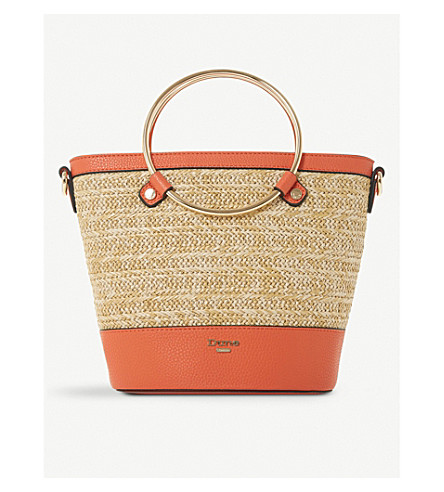 DUNE Dircle woven and faux-leather shopper (Orange