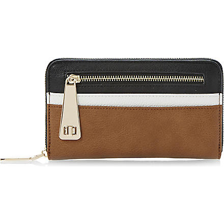 DUNE Kipster zip front colour block purse (Black-synthetic