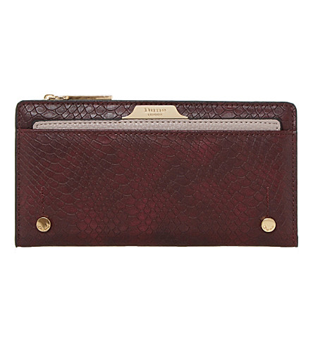 DUNE Kerrie reptile leather-look purse (Berry-plain+synthetic