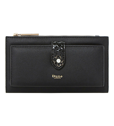 DUNE Kallows flower trim faux-leather wallet (Black-plain+synthetic