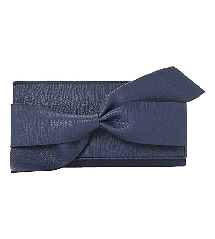 DUNE Kbow faux-leather bow detail purse (Navy-plain+synthetic